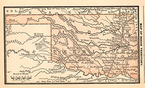 Antique Miniature Indian Territory Map Of Oklahoma O Https - 1888 us map