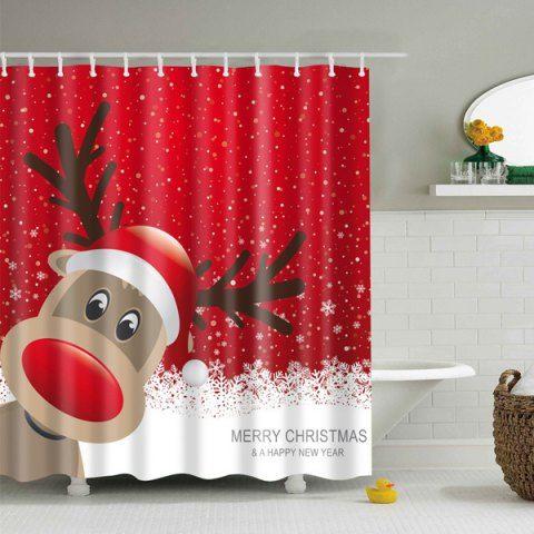 Waterproof Christmas Elk Bathroom Cartoon Curtain Cortinas De