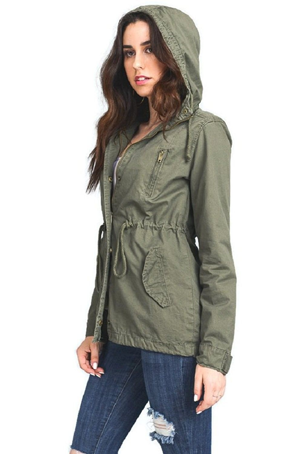 8556fa7ed03 Women s Anorak Safari Hoodie Jacket Up to Plus Size - Olive ...