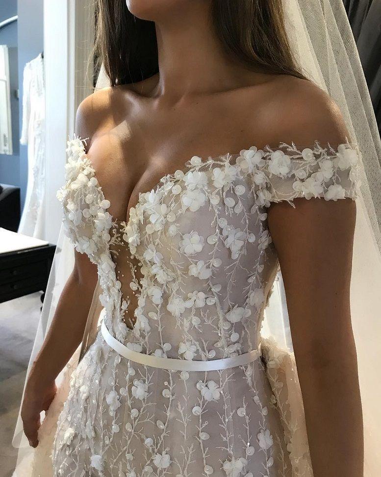 off the shoulder sweetheart plunging neckline heavy embellishment 3d floral applique wedding dress #weddingdress #weddinggown #wedding #bridedress