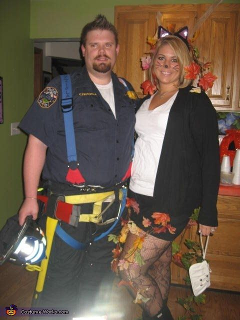 Rescued Cat u0026 Firefighter - Couple Halloween Costume Idea haha anthony and rach  sc 1 st  Pinterest & Rescued Cat u0026 Firefighter - Halloween Costume Contest at Costume ...