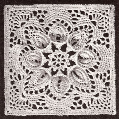 Vintage Fan Motif Bedspread Block Knitting PATTERN