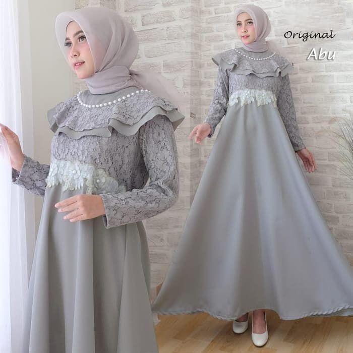 Model Gamis Brokat Kombinasi Polos Remaja Pakaian Pesta Pakaian Pernikahan Model Pakaian Muslim