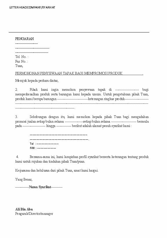 Contoh Surat Mohon Tapak Niaga Surat Gambar