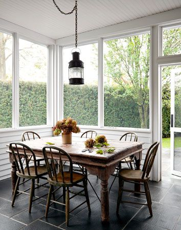 Sunroom Dining Room Ideas Slate Floor Beadboard Ceiling Lantern  Porches  Patios