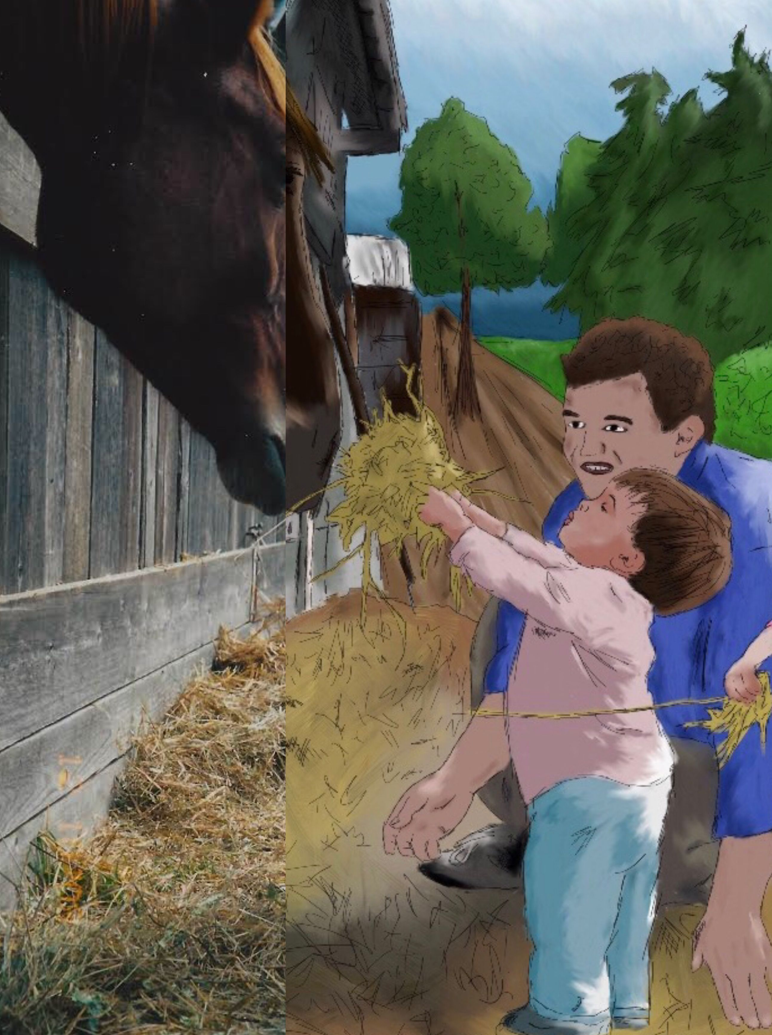 #dad #horses #day #love #family #dadandson #daddydaughter #goodday #drawing #graphicdesign #coreldraw #photoshop #edit