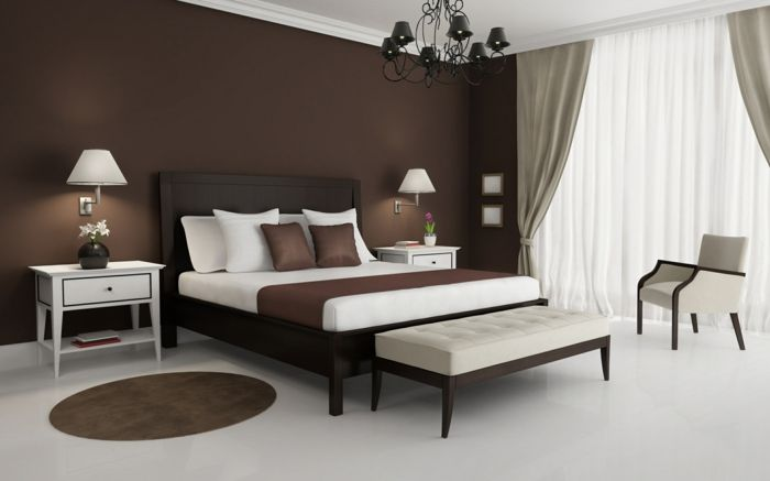 Schlafzimmergestaltung Ideen Wandfarbe braun DIY Haus