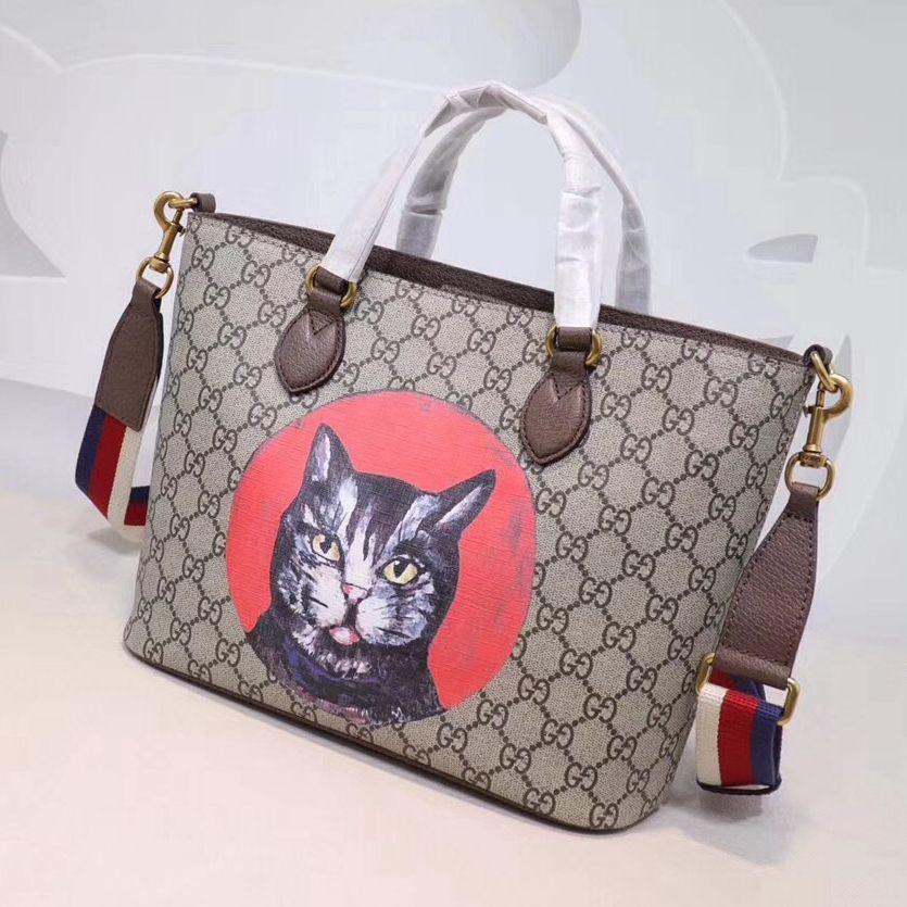 Gucci Gg Supreme Cat Print Tote Bag 473887 2018