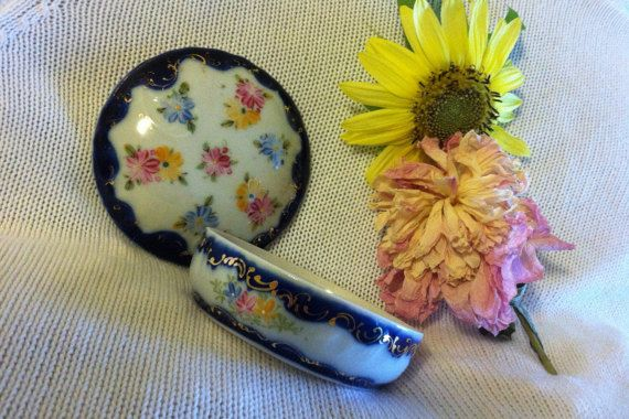 Floral Fine Porcelain Ring Trinket Dish Hand by PamsPawsJewelry