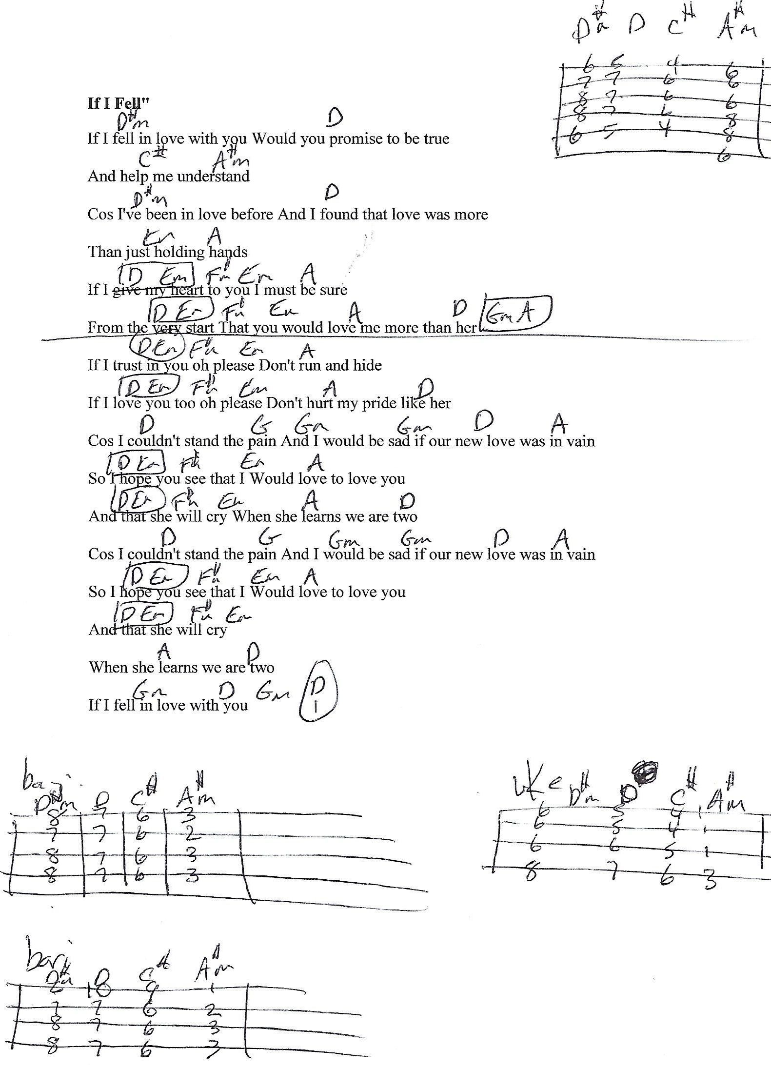 If I Fell Beatles Guitar Lesson Chord Chart With Lyrics Guitar
