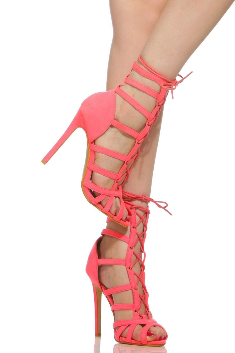 44b68d71d22 Neon Pink Faux Suede Cage Lace Up Single Sole Heels   Cicihot Heel Shoes  online store sales Stiletto Heel Shoes