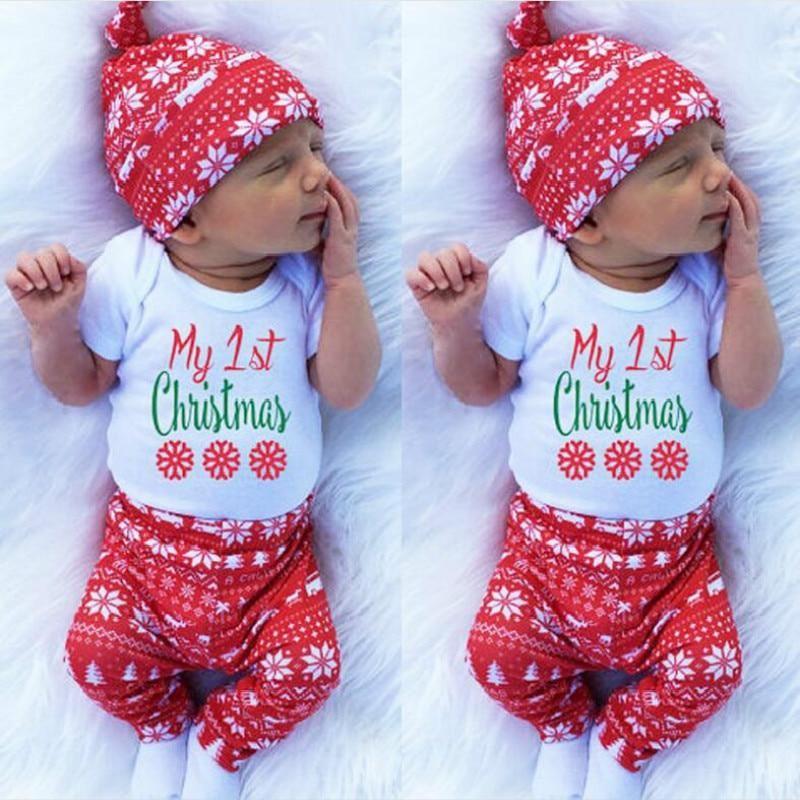 f26b29101 Newborn Baby Christmas Santa Claus Romper Hat Pants