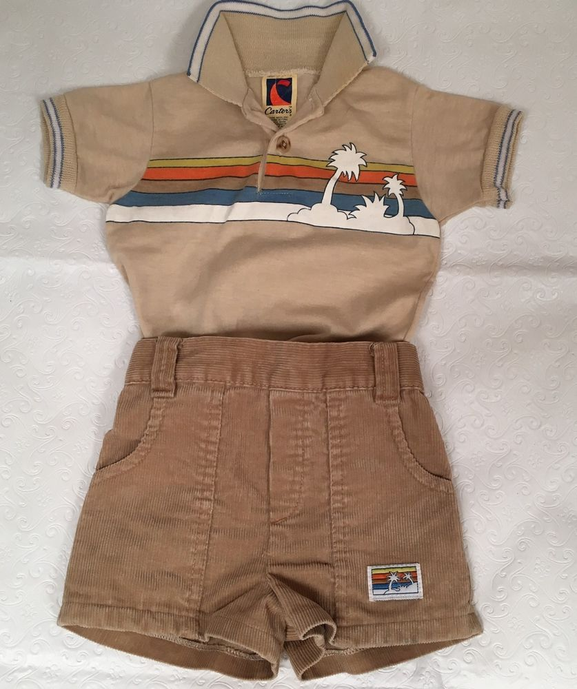 40fca09d VTG 70's CARTERS Boy Baby Hawaiian Shirt & Shorts Set Cotton USA 12 Month  22 lb #Carters