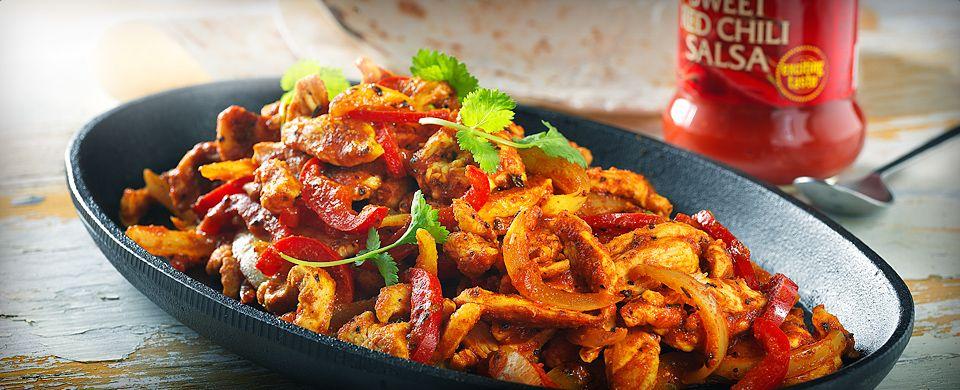 En variant af en traditionel mexicansk ret fuld af smag af chili og hvidløg. Fajitas serveres sammen med dip. F.eks.guacamole og salsa.