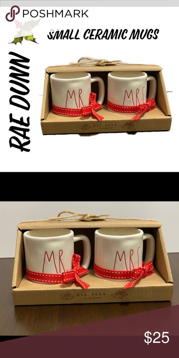 Rae Dunn ceramic mug ornaments set of 2 Rae Dunn ceramic mugs set of 2, comes in a lovely display box and would make a perfect gift for the holiday season