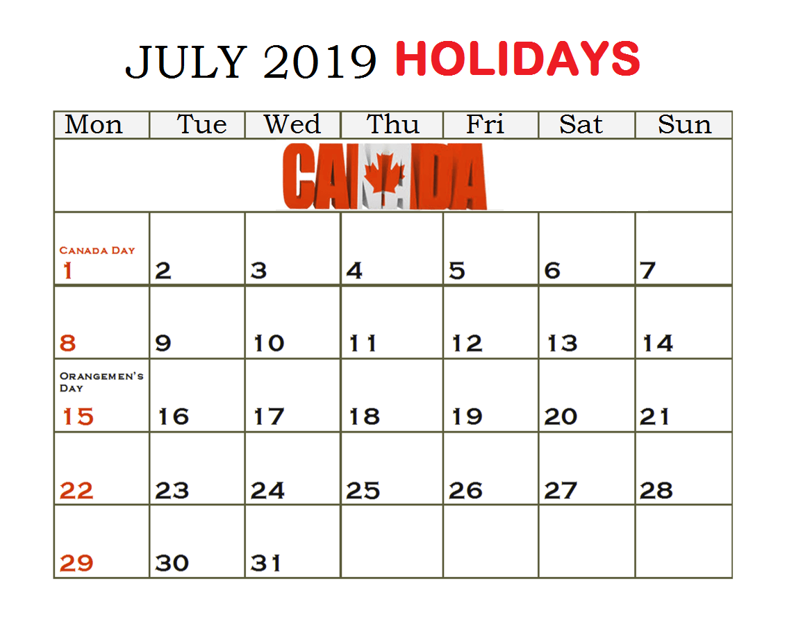 July 2019 Calendar With Holidays US, UK, Canada, India
