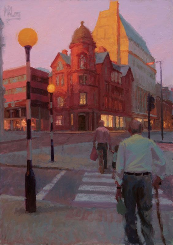 Manchester Paintings / Three Generations Crossing, Albert Square 28x40 / Norman Long Artist