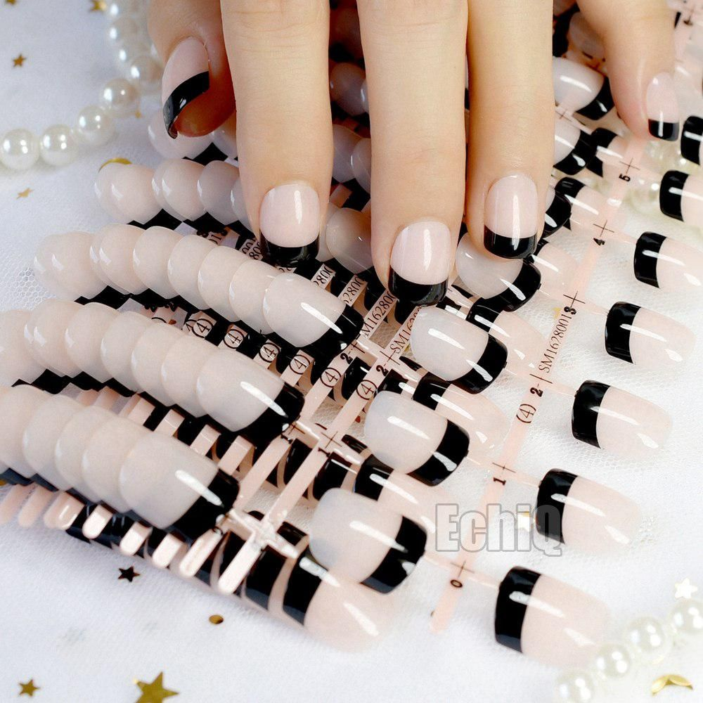 10 Sets Clic French Nails Natural Black Acrylic Fake Nail Tips Full Cover False Diy Art Salon Products N209 Yesterday S Price Us 24 9 07