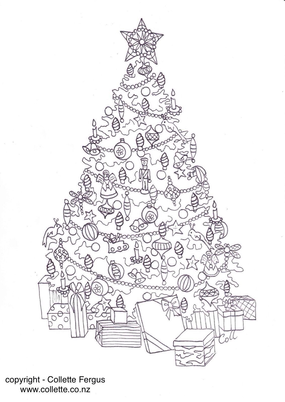 FREE Christmas Tree Adult colouring page designed by ...