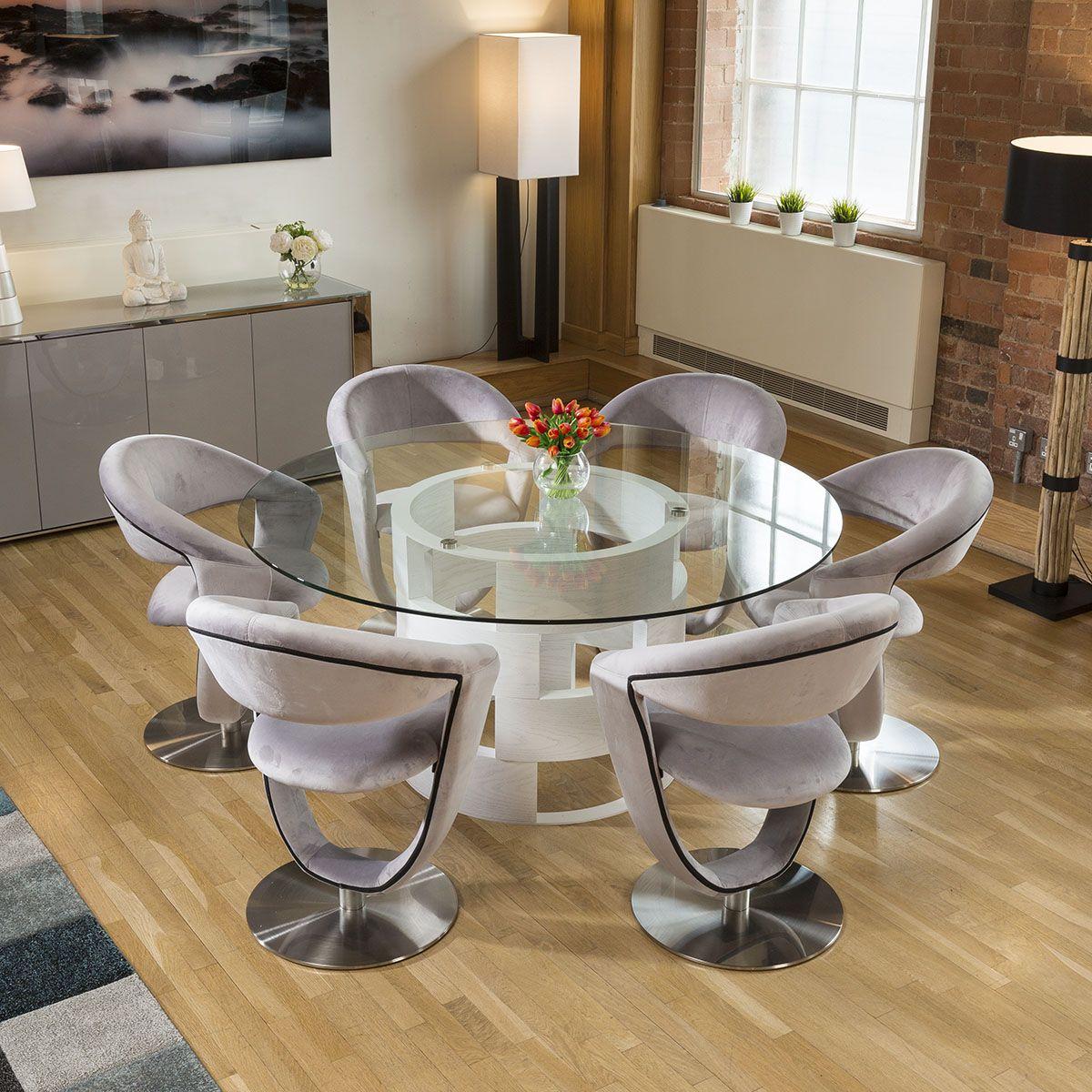 Round 1 6 Glass Top White Oak Dining Table 6 Grey Velvet Swivel