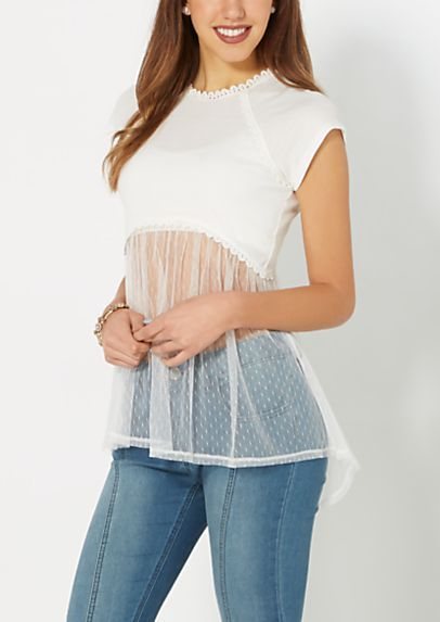 White Dotted Swiss Crop Top