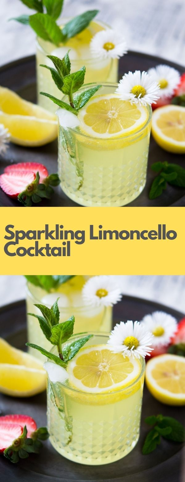 Sparkling Limoncello Cocktail #drinks #limoncellococktails