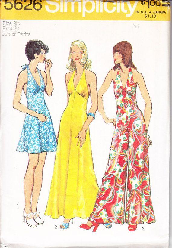70s Halter Jumpsuit Pattern/ Vintage 1970s UNCUT Simplicity Halter ...