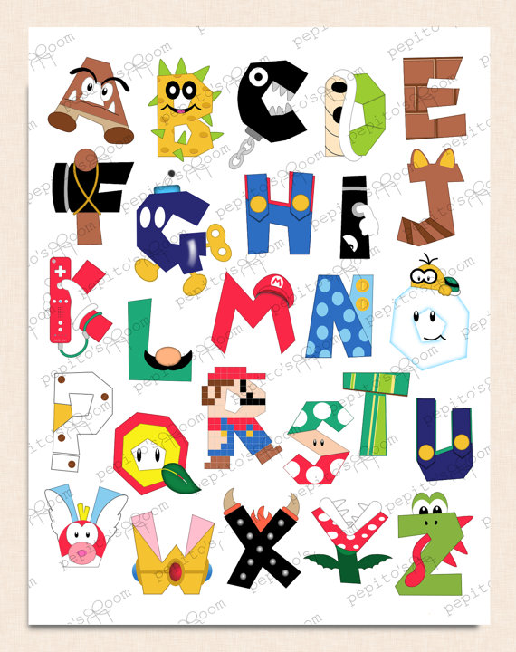 Print Ink Super Mario Bros Alphabet Poster Wall Art 16x20 Diy
