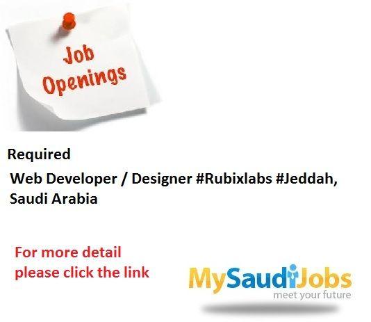 Web Developer Designer Rubixlabs Jeddah Saudi Arabia Accounting Jobs Job Opening Engineering Jobs