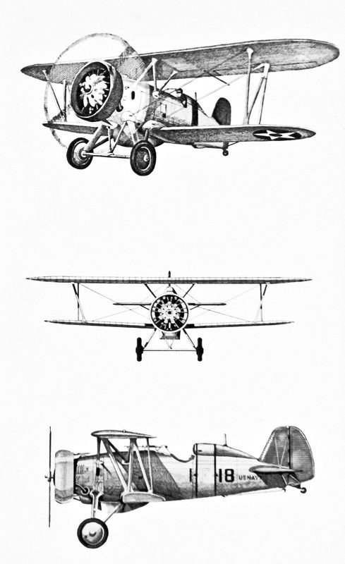 Vintage line-drawing of a Boeing F4B biplane donated by