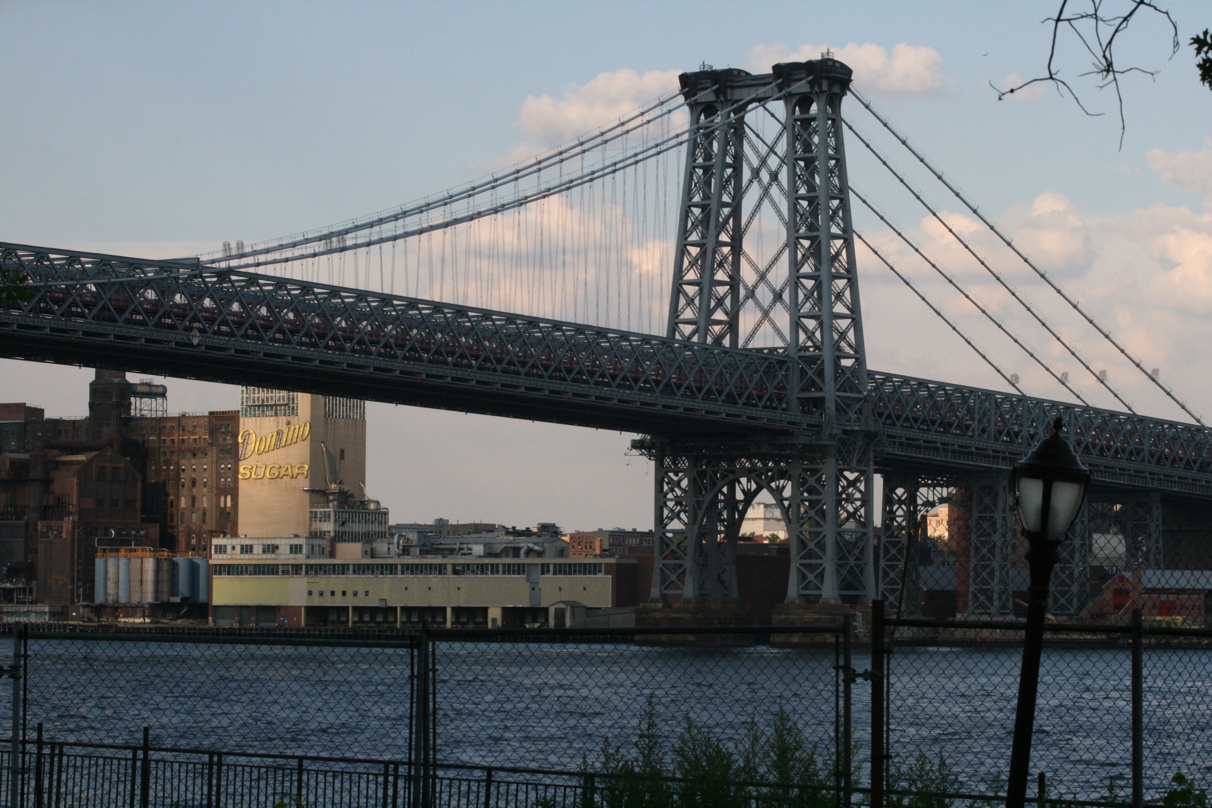 The Williamsburg Bridge and a view of the Brooklyn waterfront as seen from New York City's Lower East Side.