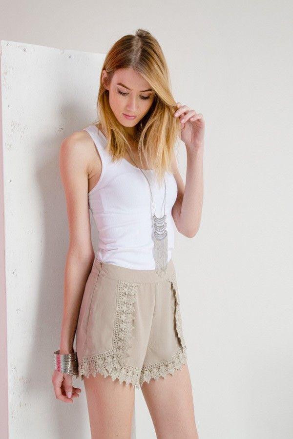 woven crochet shorts - Born2Dress.com