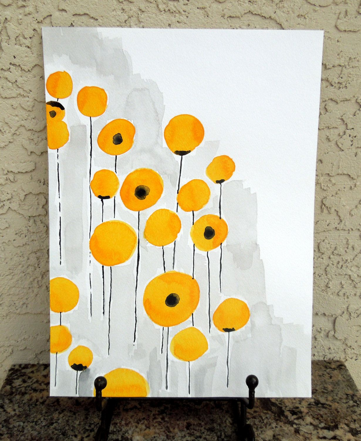 11 x 14 Yellow Watercolor Poppies, Original Abstract Painting ...