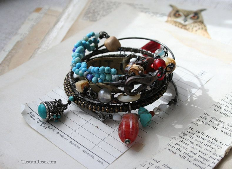 Gypsy Cowgirl Numbers and Buttons wrap Bracelet and by TuscanRose