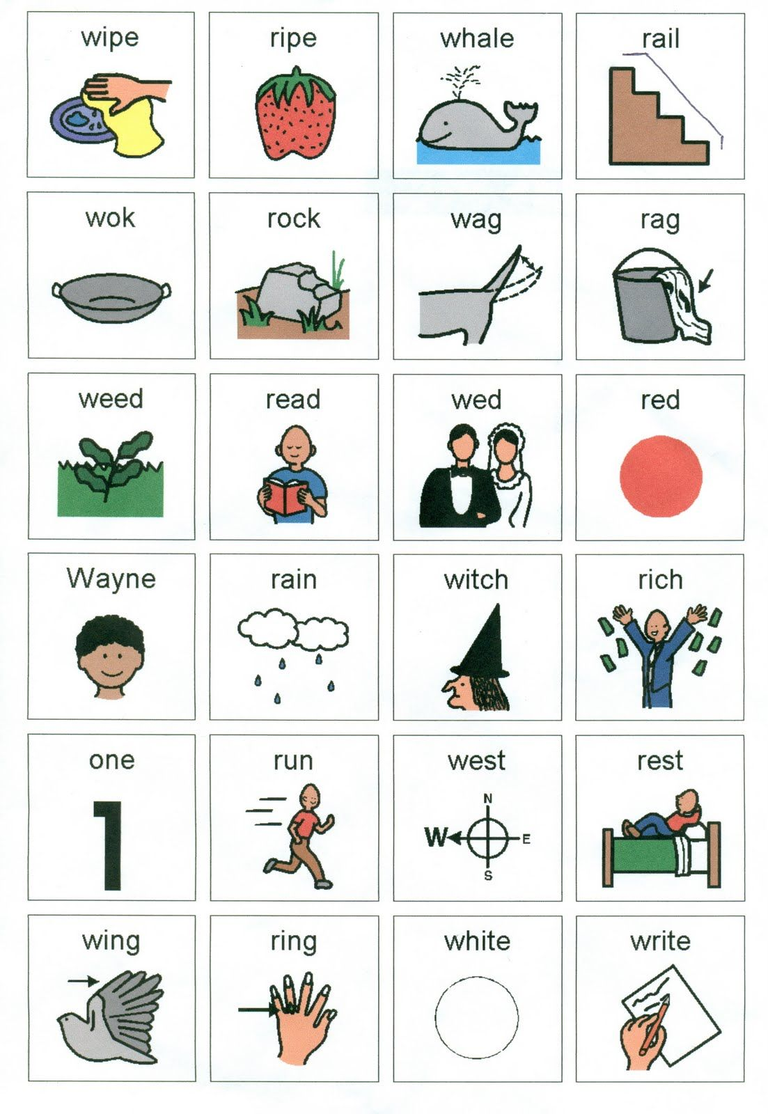 R And W Minimal Pairs Bingo