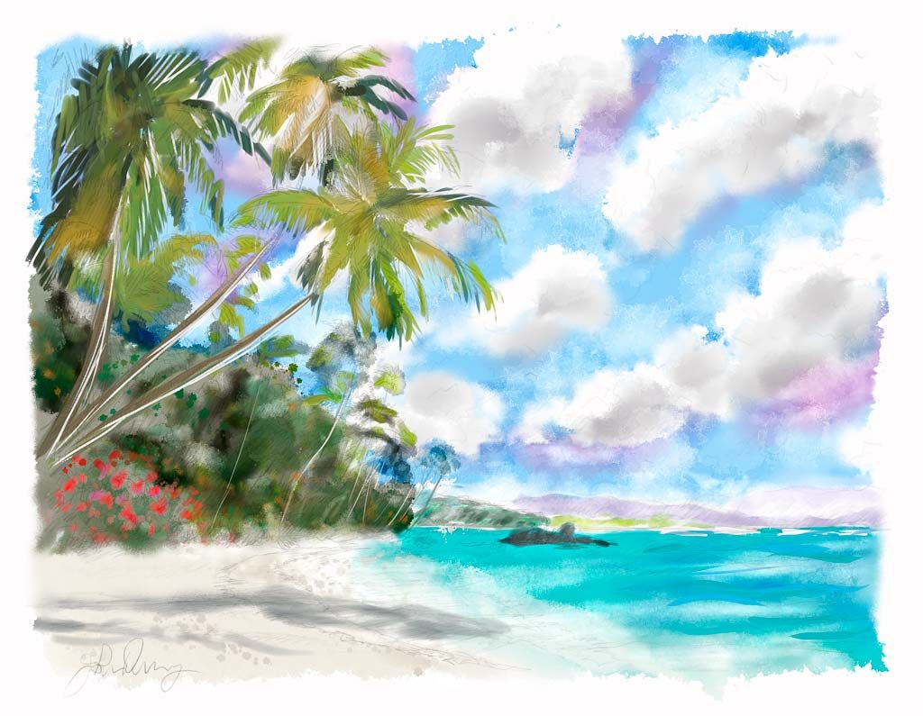 I Usually Don T Like Watercolor But This Was Too Pretty Not To Post Beach Watercolor Watercolor Paintings Easy Easy Watercolor