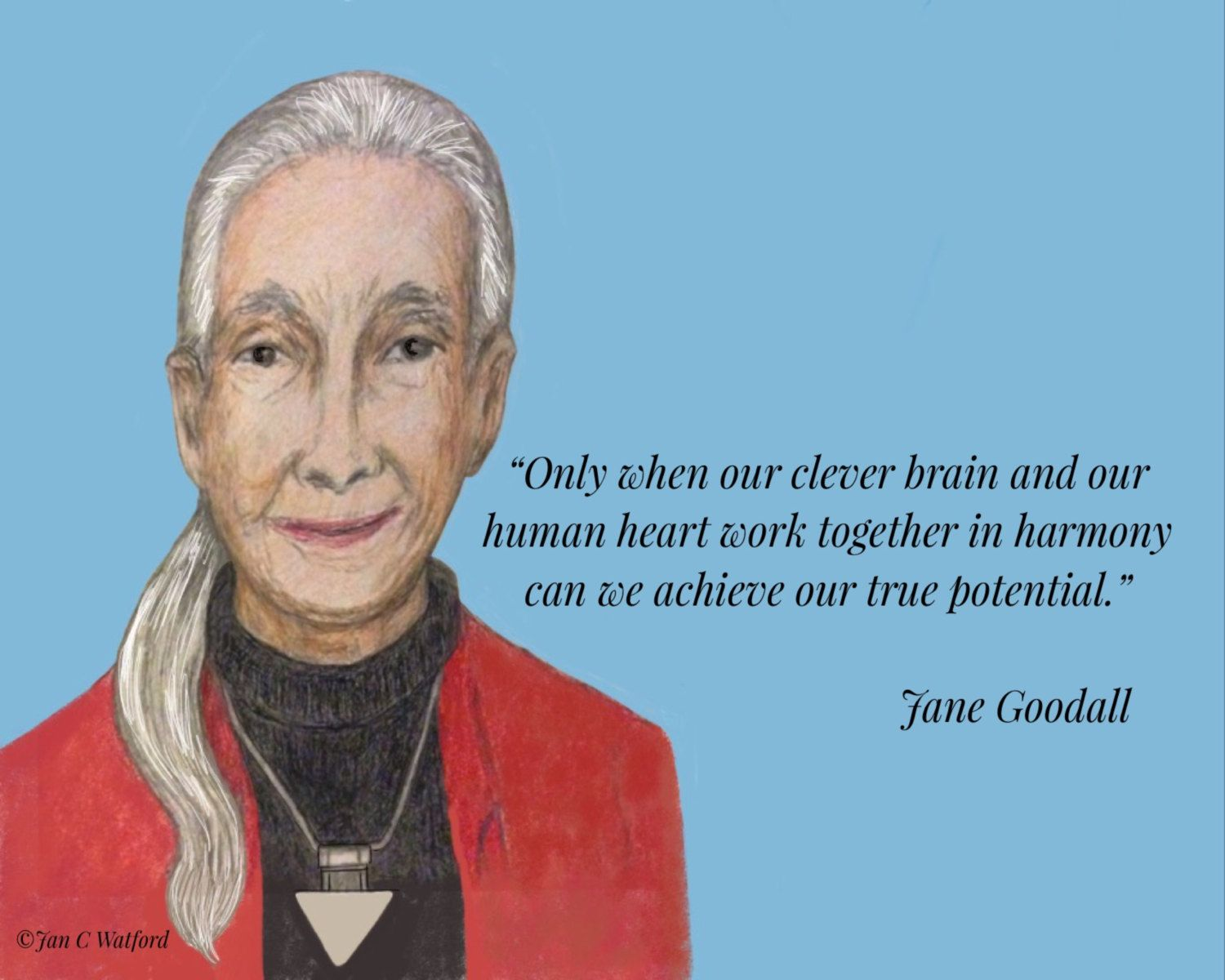 Jane Goodall, Inspirational Quote, Only when our clever