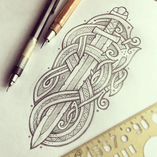 ", Sergey Arzamastsev on Instagram: ""Old sword & snake ? Village handwriting  on rainy days for the @odhinnfist (pencil sketch)  Меч старого викинга и змей – из серии…"", My Tattoo Blog 2020, My Tattoo Blog 2020"