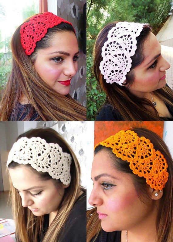 Hair Fashion// Orange Headband/ Crochet Headband/ Handmade Headband ...