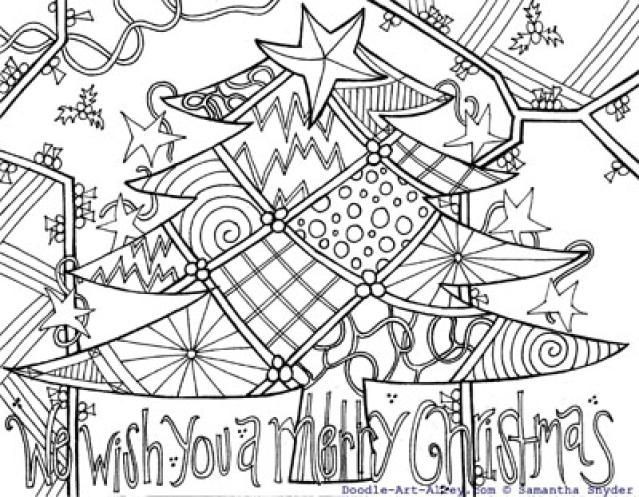 Free Christmas Doodle Art Coloring Pages
