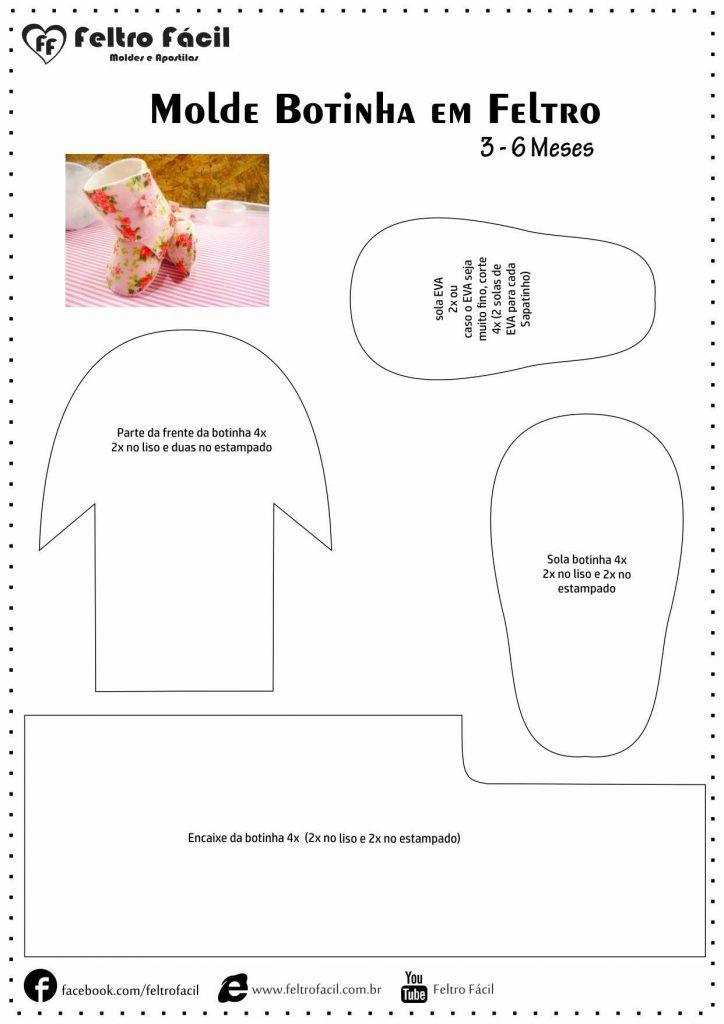 Função Do Aparador Na Sala ~ Sapatinho botinha de beb u00ea em feltro Para acessar outros moldes visite o site Feltro Fácil Só