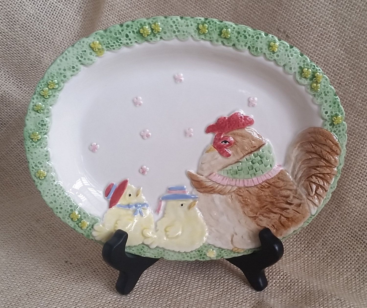Fitz & Floyd Chicken Collectible Platter Vintage Fitz and Floyd 1987 Hen and Chicks Plate Spring Decor Easter Decor by RandomAmazing on Etsy