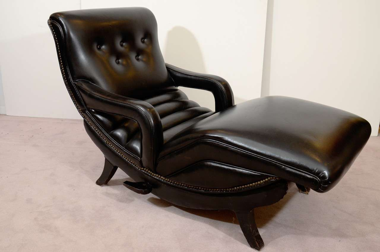 Mid Century Reclining Chaise Lounge In Black Leather Leather Chaise Lounge Recliner Metal Lounge Chairs