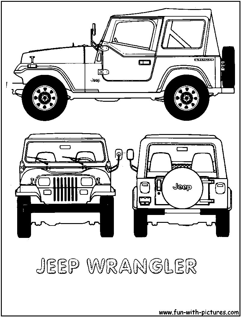 Cartoon Jeep Clip Art | jeep wrangler colouring pages | Evan\'s 2nd ...