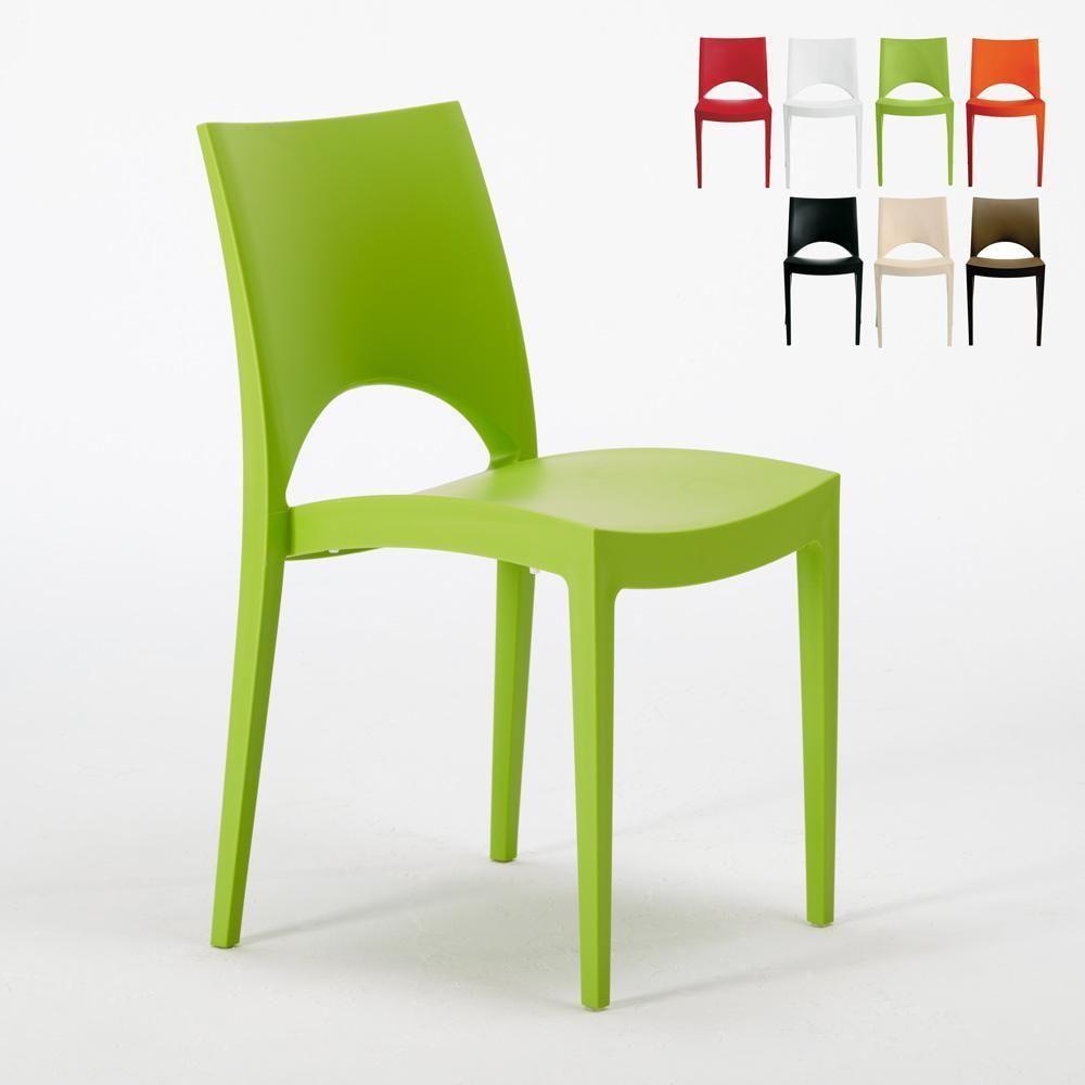 Sedie Impilabili In Plastica.Dettagli Su 24 Sedie Paris Grand Soleil Polipropilene Colorate Bar