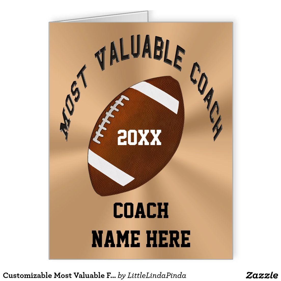 Customizable most valuable football coach cards zazzle