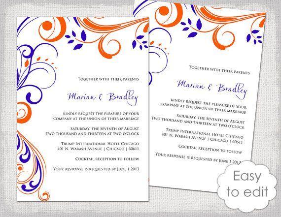 Printable Wedding invitation templates Mandarin orange and Royal
