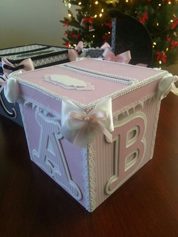 Pink And White Money Card Box Gift Card Box Baby Shower Card Box