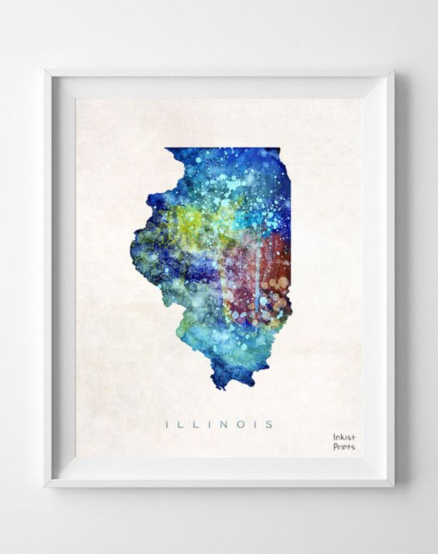 Illinois Watercolor Poster Map Painting Home Town Art USA - Poster map of usa