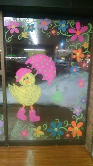 Seasonal Storefront Window Art By >> Spring Window Painting Ideas Window Mural Classroom Window